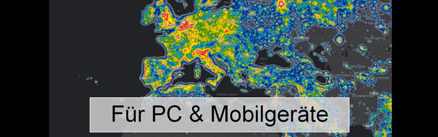 Lichtverschmutzungskarte Europa/Deutschland/Welt, 2016 Falchi für Mobilgeräte/Smartphone